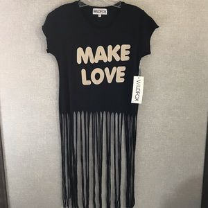 "Wildfox ""Make Love"" Fringe Tee Shirt"
